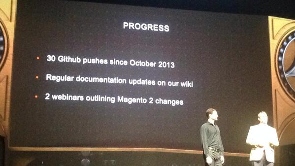 kj187: The current progress from #magento2 live from #MagentoImagine in Las Vegas #magento http://t.co/Ih2jnAtgl7