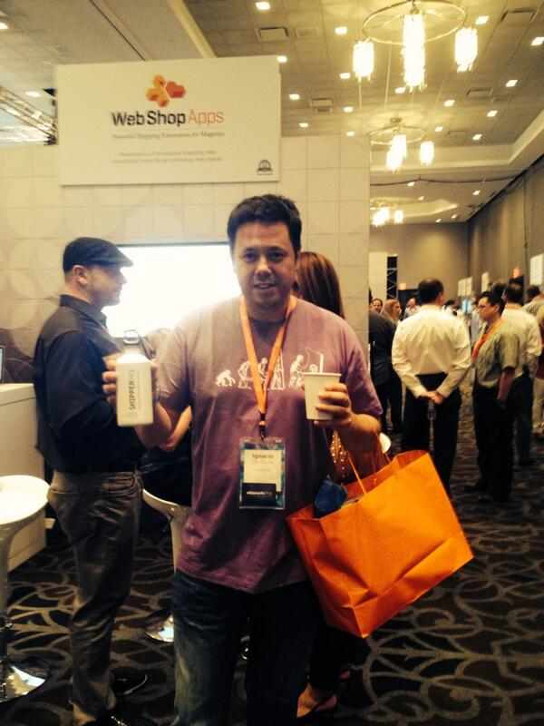 WSAJosh: @ebizmarts sporting 1 of @WebShopApps new @ShipperHQ water bottles! Stop by booth 60 2 kw more #MagentoImagine #Swag http://t.co/Hn3L0pk1Ny