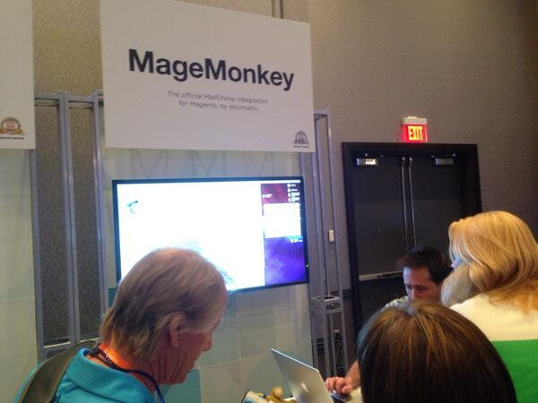 ebizmarts: Really crowded at the #MageMoney booth at #MagentoImagine @MailChimp @mandrillapp http://t.co/IrIsEvPPlo