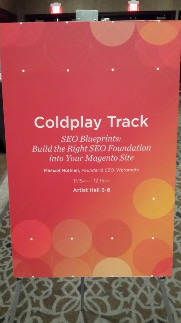 flagbit: Breakout sessions are kicking off with #SEO Blueprints. Its all about google and unique content. #magentoimagine http://t.co/SS6AVJtd5A