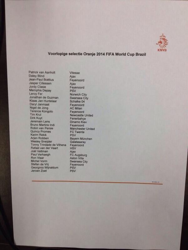 Louis van Gaal announces young Dutch World Cup squad, Van Perise & Sneijder in, no Kevin Strootman (injured)