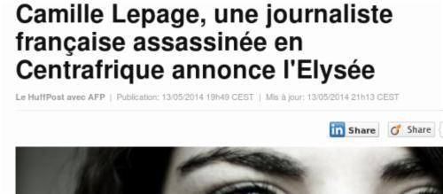 #camillelepage, une #journalistefrançaise assassinée en #centrafrique annonce l'#elysée  http://t.co/8swCHIr7lQ http://t.co/YTMp6LfrIP