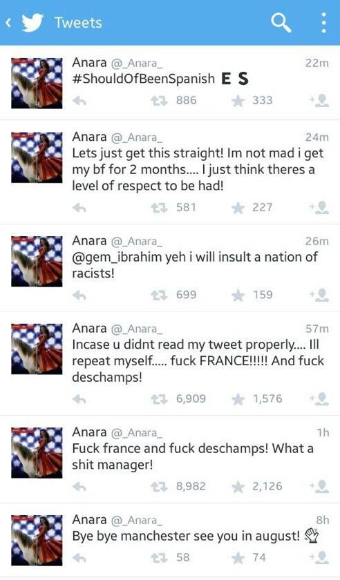 Samir Nasris girlfriend Anara vents her spleen over World Cup squad: F**k France, F**k Deschamps!