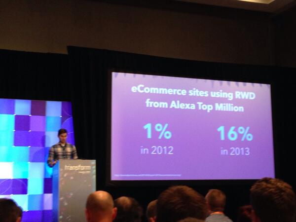 bobbyshaw: 16x more responsive ecommerce sites this year than last. Woohoo! Thanks for the mention @Falkowski. #MagentoImagine http://t.co/4ZxQuFKVf3