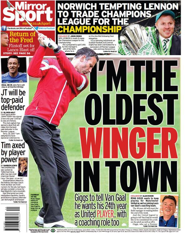 Ryan Giggs wants 1 more year as a Manchester United player from incoming manager Louis van Gaal [Mirror]