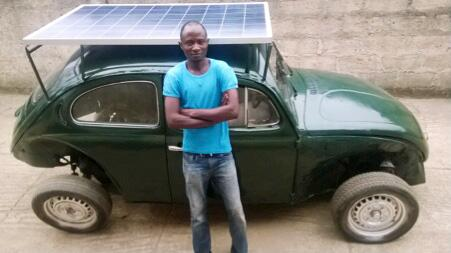 This Nigerian college student built a wind and solar powered car from scraps. http://t.co/ytVMswjP2C http://t.co/bqgTxAMaQ0