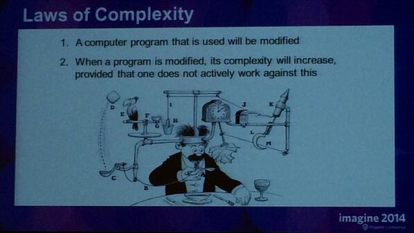 blackbooker: Laws of Complexity according to @AntonKril Love it! #magentoimagine http://t.co/IELut6X9p7