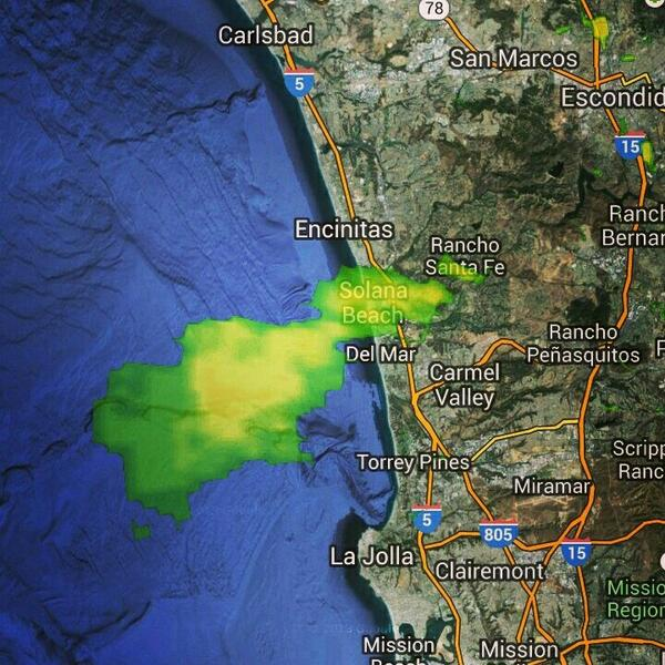 Dust particles & smoke SO THICK from the #BernardoFire, showing up on #NBC7 RADAR. Blowing out to sea. #SanDiego http://t.co/pKQxZu4x2D