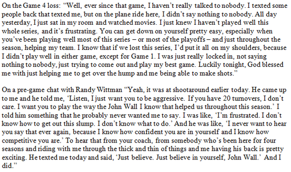 John Wall addressed how he dealt with his struggles in the series against Indiana following the #Wizards' victory: http://t.co/vp57KT5pu7