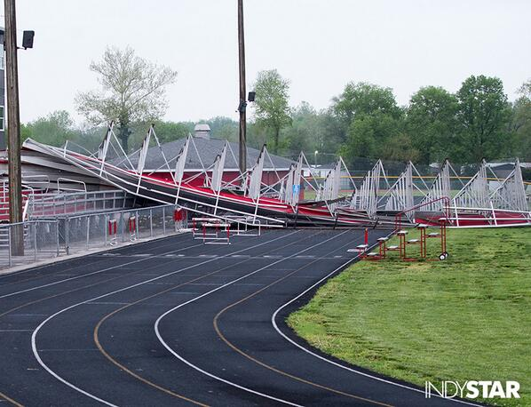 Here's what the bleachers at Edinburgh HS look like, following last evening's wind. @indystar http://t.co/9TH4gynJgl