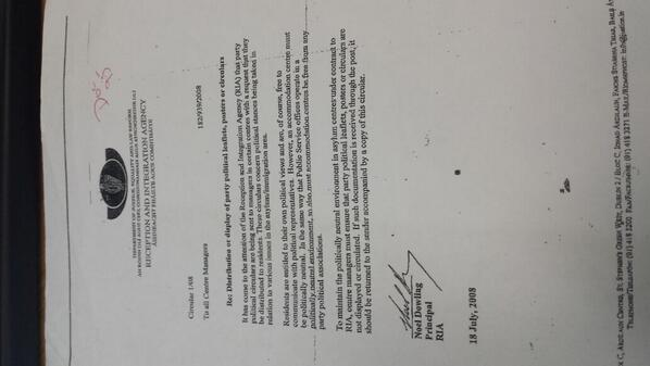 Circular to all #DirectProvision centres, from Mr Noel Dowling, RIA Principal Officer, 18th July 2008. http://t.co/BketKyPNop via @DrLiamT