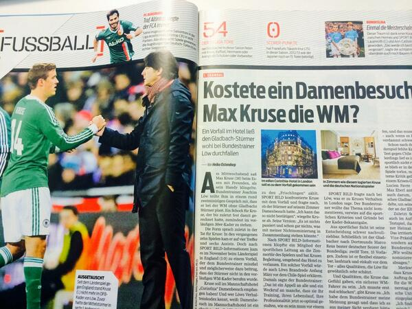 Gladbachs Max Kruse, omitted from the German World Cup squad, denies lady in London story [Bild]
