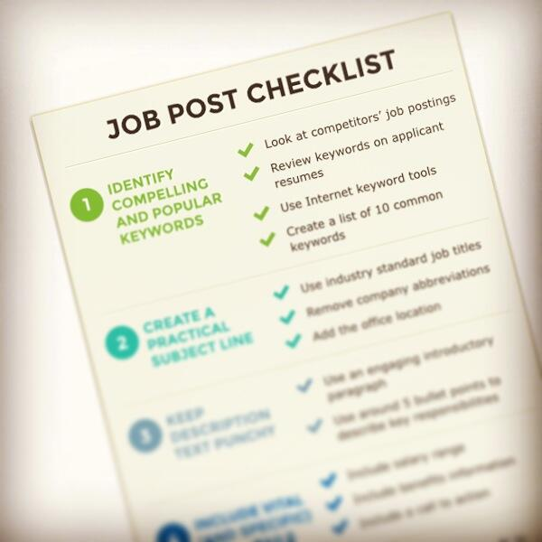 Posting a job? Follow this checklist: http://t.co/ApVcDXNsSp. #SBW2014 http://t.co/JNMBRRPVML
