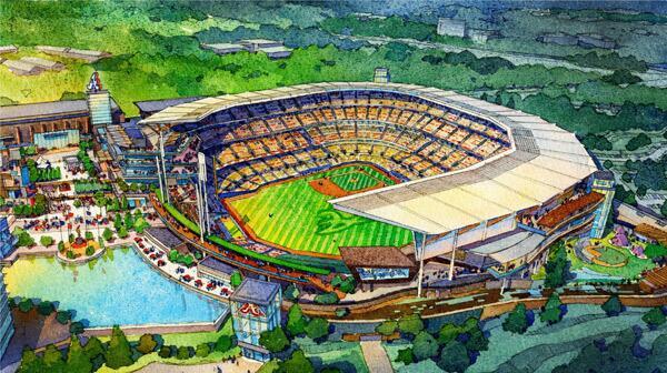 New rendering of #Braves ballpark in Cobb. More to come on http://t.co/O1aznTHbde http://t.co/LgNeR2uTYI