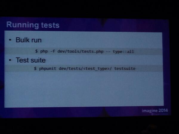 kab8609: Looks like #magento 2 will be command line friendly! #MagentoImagine http://t.co/UUnI5L9UEe