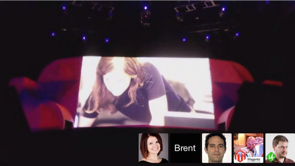 ignacioriesco: I am at #magentoimagine with my friends thanks to @brentwpeterson #wow. Hangout in a taxi using 4G!!! @sherrierohde http://t.co/Mhg8hGqyFb