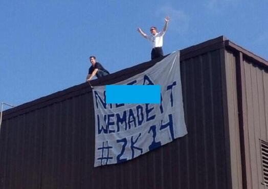 SAY WHAT? Derogatory sign placed on school as 'senior prank'. The school is reacting: http://t.co/kQJD543ydm http://t.co/aO54Rd2hQC