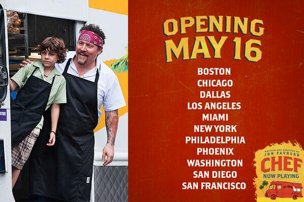 #ChefMovie rolls into ADDITIONAL CITIES THIS WEEKEND. Find your theater and buy tickets NOW: http://t.co/xHmCHkToFO http://t.co/h5rOPQMNNw