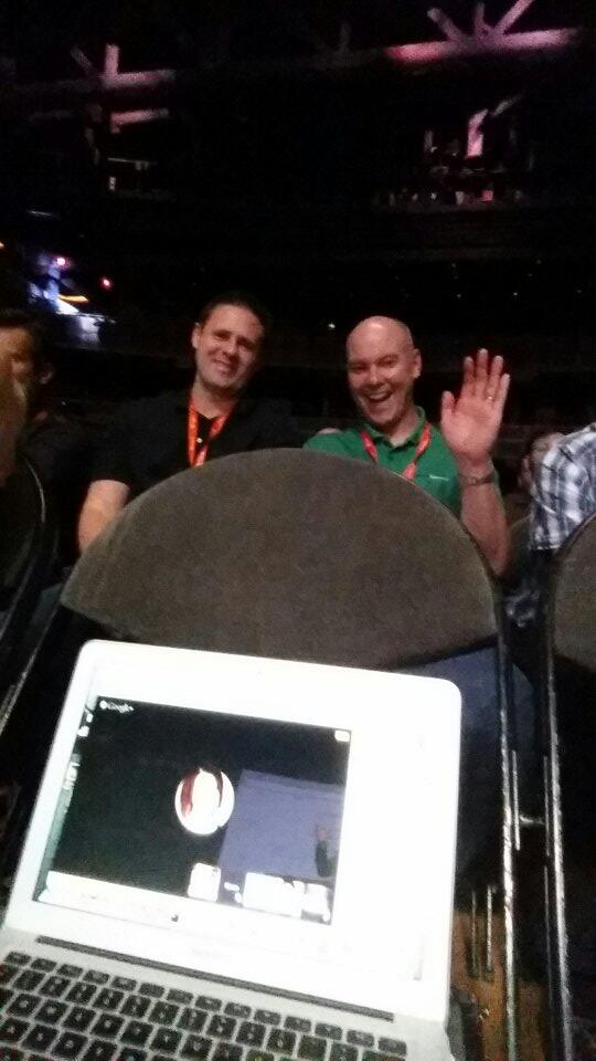 BobSchwartz: @sherrierohde (virtual) in the front row with @brentwpeterson behind. #MagentoImagine http://t.co/sT5AyBkgPb
