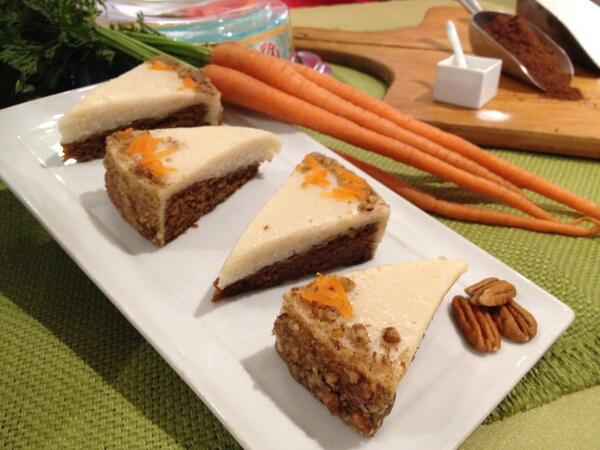 Here's a shot of @ElisCheesecake vegan carrot cake. It took me an hour to decide between chocolate and carrot! http://t.co/8LJXQLuotA