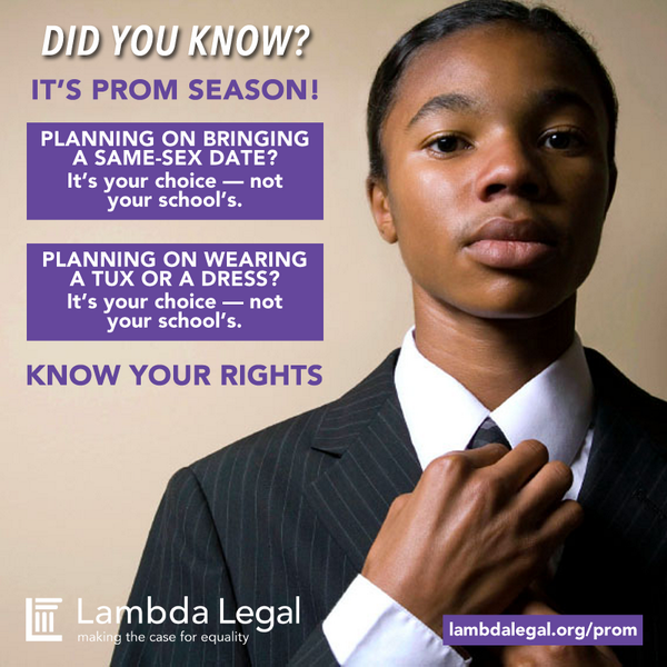 Did you know? It's #prom season! Click here and #KnowYourRights: http://t.co/KBz7XBAbkO #LGBTQ http://t.co/ykNh0F69kF
