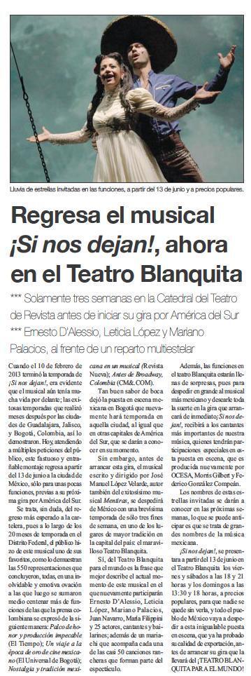 NOTA. Regresa el musical #SiNosDejan, ahora en el @TBlanquitaMx http://t.co/6YxoC4UJF9