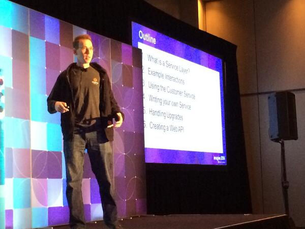 alan_james_kent: Chris O'Toole talking on service layer in the #magento2 track at #MagentoImagine now http://t.co/HR955Ri8GM