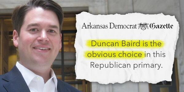 "I'm honored to be endorsed by the Arkansas Democrat-Gazette today: ""Baird is the obvious choice"" RT if you agree! http://t.co/7ad9Bl7z39"