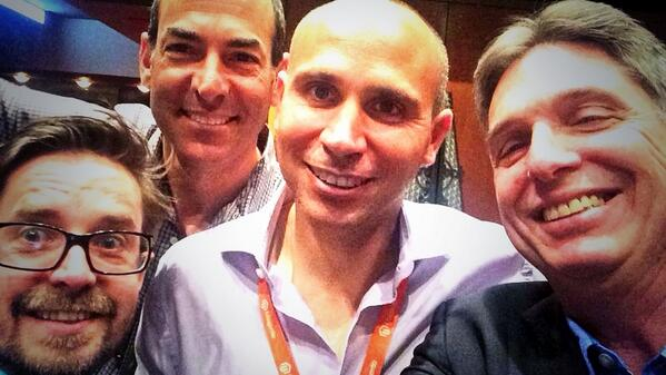 hitono: #selfie with two @Magento legends. @royrubin05 & @BobSchwartz - thank you for the most amazing times! #magentoimagine http://t.co/udOgc45eFh