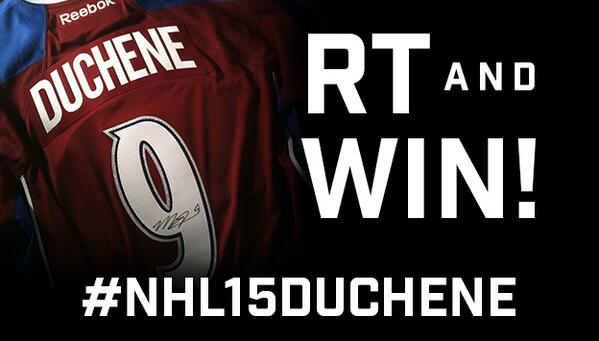 RT for a chance to win this @Matt9Duchene-signed jersey! #NHL15Duchene http://t.co/30i8Rt3hwj http://t.co/pHnQG3YWSt