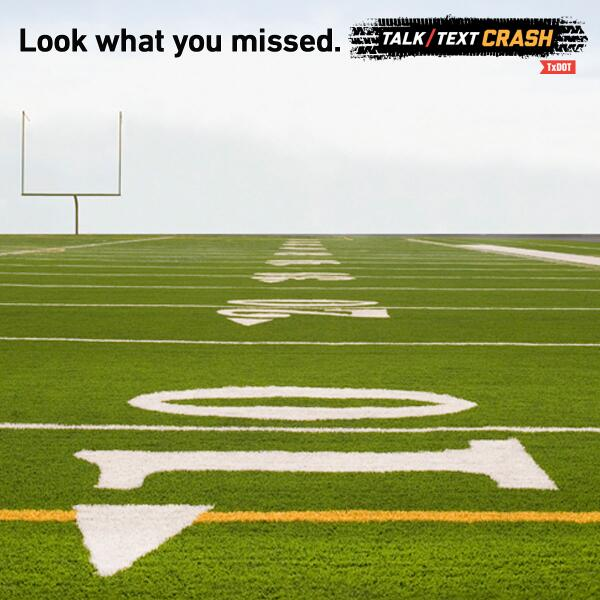 Sending a text while driving 55 mph is like driving the length of a football field w/ your eyes closed #TalkTextCrash http://t.co/VW3IRm0yTU