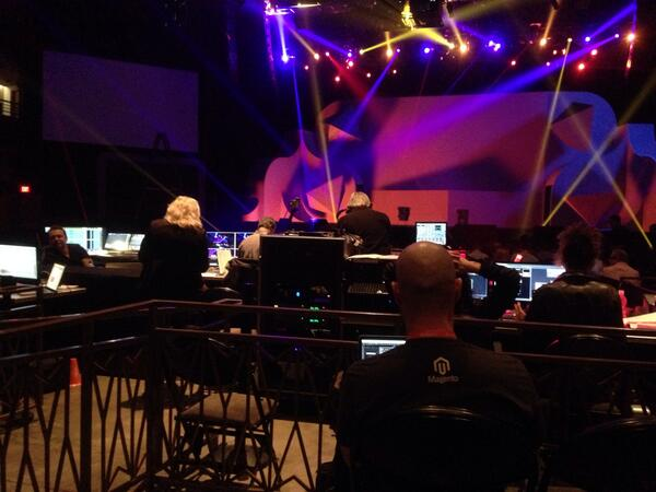 JoshuaSWarren: Sitting behind the awesome production team for the general sessions at #magentoimagine http://t.co/0PcAwnEdoT