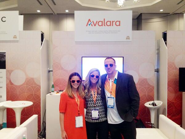 levementum: @Michybag & Matt Gratten of @Avalara with our own Melissa Shea after she won their $500 giveaway at #MagentoImagine! http://t.co/xTKR2KPLS9