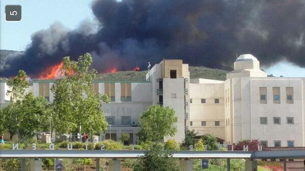 10news on twitter viewer picture fire burning near cal state san