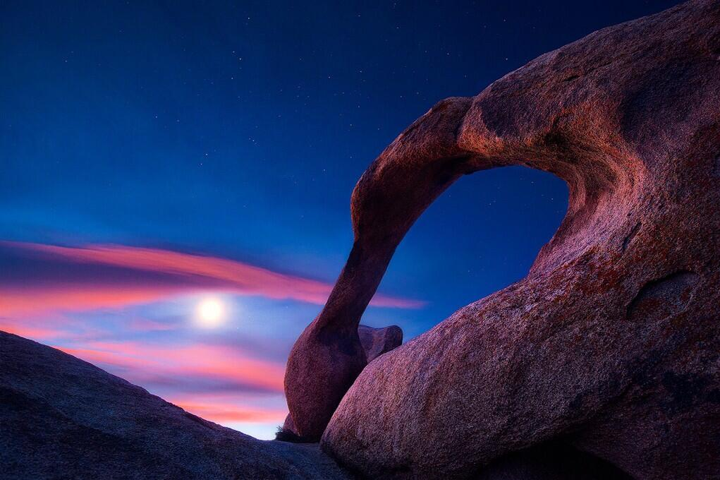 U.S. Department of Interior, Twitter feed: Beautiful view of the moon over Mabius Arch in the Alabama Hills Recreation Area. #California @BLMca pic.twitter.com/u0KYyJ6p0S