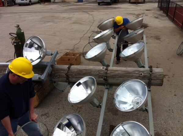 A crew from the #Pottstown School District works to strip the metal from #grigglites @MercuryX http://t.co/9ZYXCK2UOy