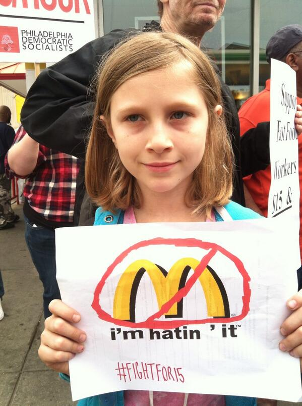9-yr-old Jai Abbott of Cedar Park is protesting low wages for fast-food workers. This is a one-day global strike. http://t.co/C17suANU7x