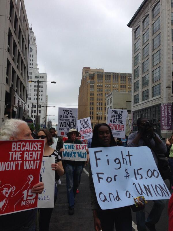 Marching for #FastFoodGlobal with @215PUP @ActionUnited @15nowPhilly @PFTLocal3 @SocialistAltPA @fightforphilly http://t.co/KQOBXV7AO1