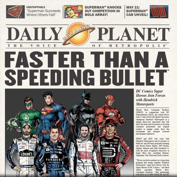 Extra! Extra! Hendrick Motorsports partners with @DCComics -->  http://t.co/HQdS77C2Q7 http://t.co/tcSJr0grVp