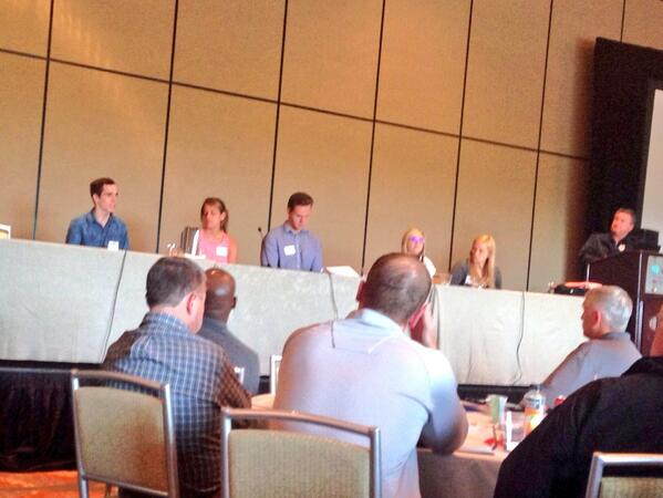 Terrific student-athlete panel at #StepUp2014KC. Always best to hear from those you serve, & how to relate to them. http://t.co/ZjxbMIMMV4