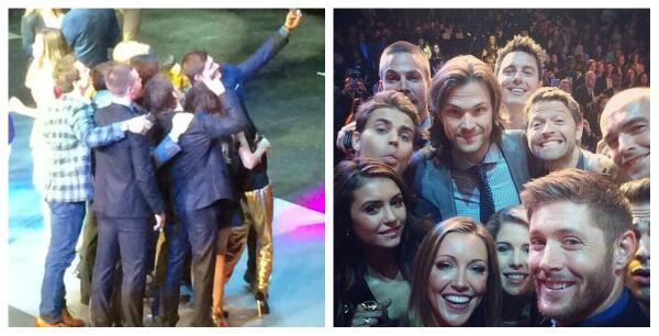 Great shot! RT @Phoenix_Ranger: if u wondered who took #CWUpfronts OscarParody Selfie, IT WAS JENSEN! http://t.co/rfnaVp0hZU #Supernatural