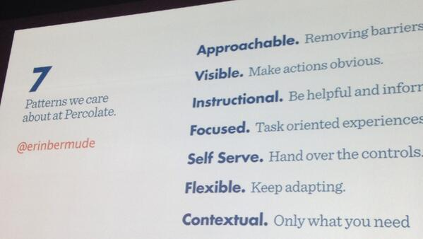 7 Patterns for effective product design from @erinbermudez, Product Designer  @percolate. #ddimpact http://t.co/Dl1pvwdhxI