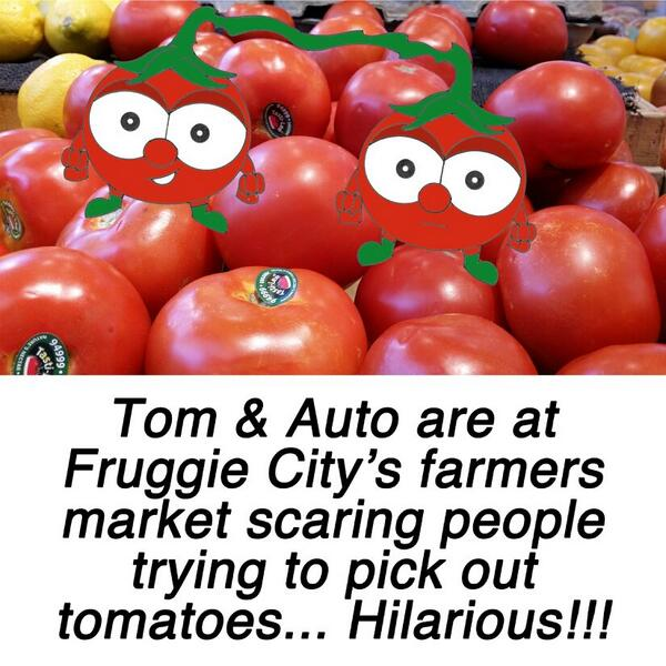 Tom & Auto are having a great time scaring people at the farmers market.  #glutenfree #animation #healthy #allergies http://t.co/up7JG1ywn9