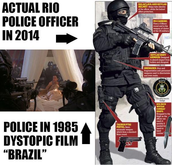 Current Rio Cops sure look a lot like the ones in Gilliam's 1985 film Brazil http://t.co/h2G5suIUvC @PrisonPlanet http://t.co/hpvQ01cHtu