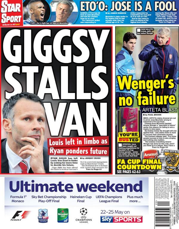 Ryan Giggs asks for more time from Manchester United manager Louis van Gaal over Number 2 role [Star]