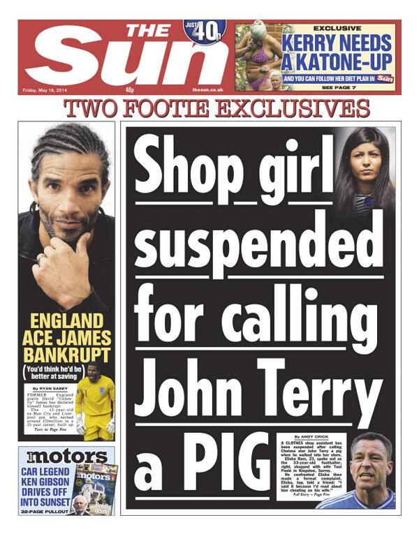 Shop assistant suspended for calling Chelseas John Terry a pig [Sun]