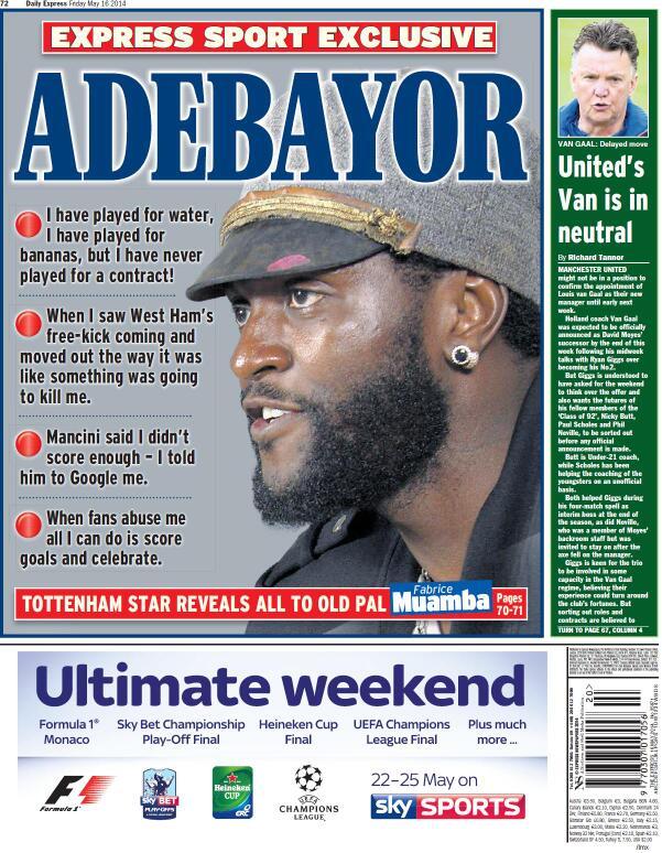 Spurs Emmanuel Adebayor: I dont care about Arsenal... I told Mancini to google me! [Express]