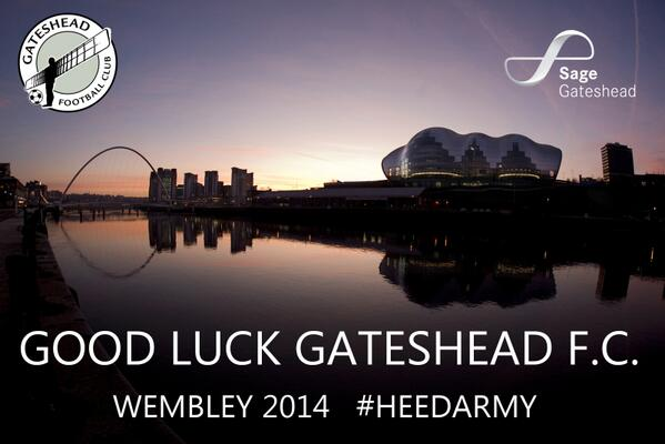Best of luck to @GatesheadFC for Sunday's play off final at #Wembley!  #HeedArmy #54Years #GatesheadFC http://t.co/NVeif7GSUQ