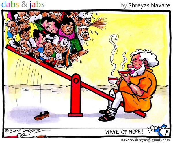 A cartoon on India's verdict! #narendramodi #indianelections2014 #cartoon #India #hindustantimes http://t.co/sw2MCmtlFO