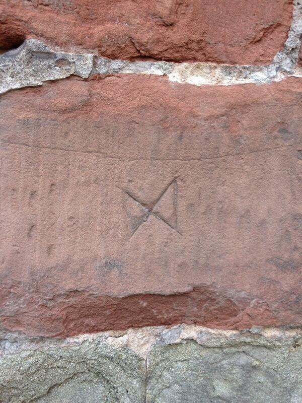 Mason's mark on Chapter House, Worcester Cathedral